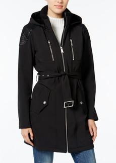 BCBGeneration Faux-Leather-Trim Belted Raincoat