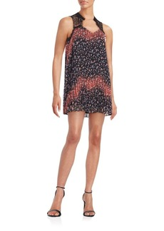 BCBGeneration Floral Lace-Trimmed Shift Dress