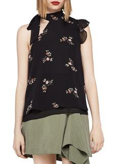 BCBGeneration Floral One-Shoulder Tie-Neck Top