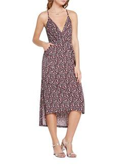 BCBGENERATION Floral Print Faux-Wrap Midi Dress