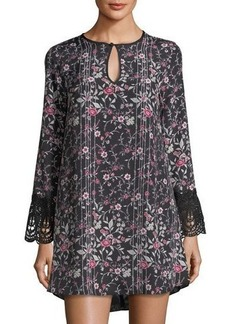 BCBGeneration Floral-Print Shift Dress w/Lace Trim