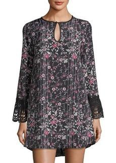 BCBGeneration Floral-Print Shift Dress w/Lace Trim
