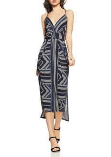 BCBGeneration Geo-Stripe Faux-Wrap Midi Dress