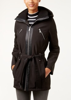 BCBGeneration Hooded Zip-Front Belted Coat