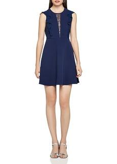BCBGeneration Lace-Inset Ruffle Dress