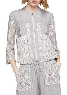 BCBGeneration Lace-Inset Striped Utility Jacket