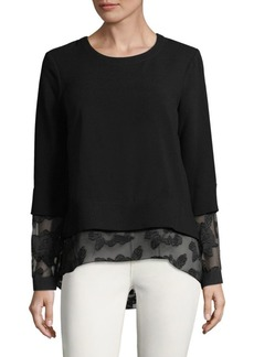 BCBGeneration Lace-Sleeve Top