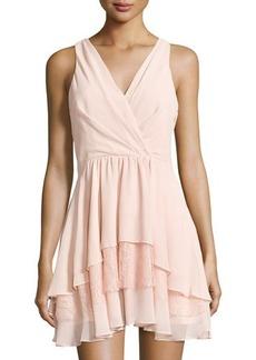 BCBGeneration Lace-Trim Woven Cocktail Dress
