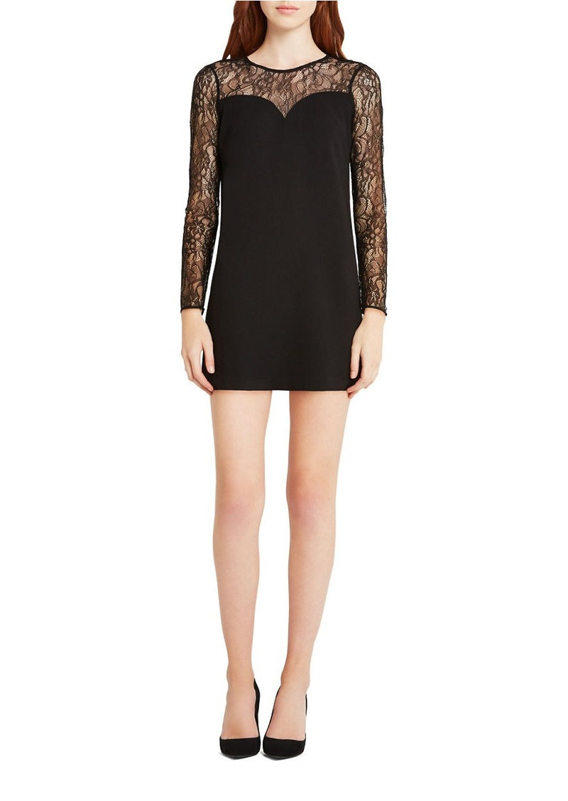 BCBGENERATION Lace-Trimmed Long Sleeve A-Line Dress