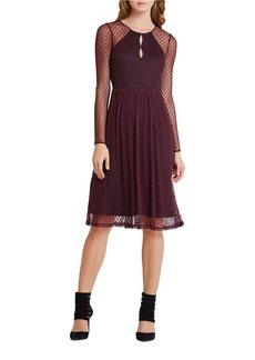 BCBGENERATION Long Sleeve Dotted Mesh Midi A-Line Dress