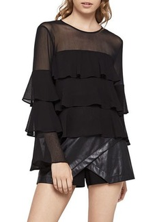 BCBGeneration Long-Sleeve Tiered Ruffle Blouse