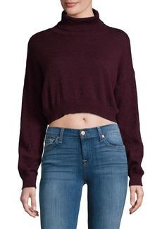 BCBGeneration Marled Cotton Crop Sweater