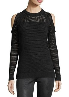 BCBGeneration Mesh-Knit Cold-Shoulder Sweater
