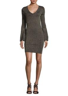BCBGeneration Metallic Bell-Sleeve Bodycon Dress