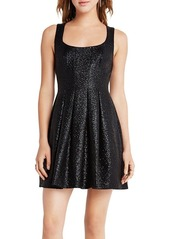 BCBGeneration Metallic Foil Tweed Dress
