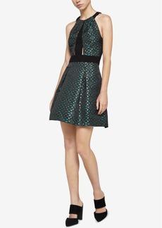 BCBGeneration Metallic Jacquard Fit & Flare Dress