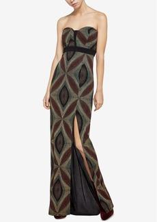 BCBGeneration Metallic-Knit Sweetheart Maxi Dress