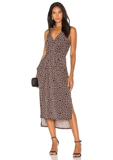 BCBGeneration Midi Faux Wrap Dress In Black Olive in Black. - size L (also in M,S,XS)