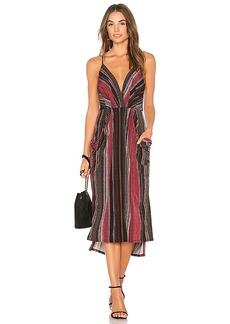BCBGeneration Midi Faux Wrap Dress In Port Multi in Burgundy. - size L (also in M,S,XS)