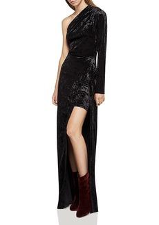 BCBGeneration One-Shoulder Crushed Velvet Dress