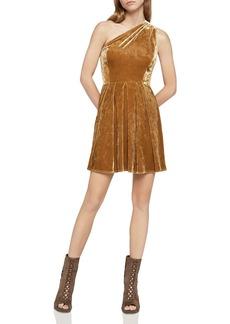 BCBGeneration One-Shoulder Pleated Crushed Velvet Dress