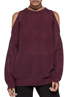 BCBGeneration Open Stitch Cold-Shoulder Sweater