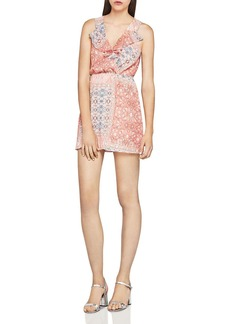 BCBGeneration Patchwork-Print Ruffle Dress