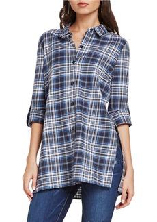 BCBGENERATION Plaid Button-Up Tunic Shirt