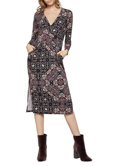 BCBGeneration Psychedelic Faux-Wrap Midi Dress