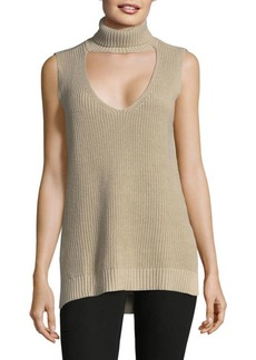 BCBG Ribbed Cutout Top