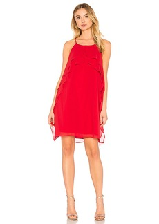 BCBGeneration Ruffle Dress In Chili Pepper in Red. - size L (also in M,S,XS)