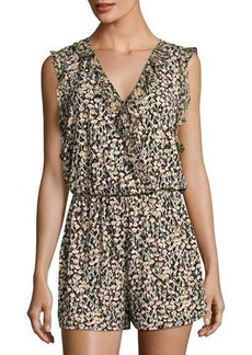 BCBGeneration Ruffled Floral-Print Romper