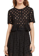 BCBGeneration Sheer Grid-Lace Top