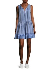 BCBGeneration Sleeveless Striped Cotton A-Line Dress