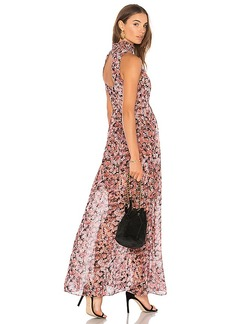 BCBGeneration Smocked Neck Maxi Dress In Rose Bloom Combo in Pink. - size 0 (also in 2,4,6,8)