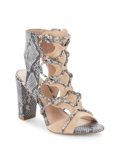 BCBGeneration Fay Snake-Embossed Leather Cage Sandals
