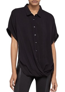 BCBGeneration Solid Button-Down Front-Tuck Shirt