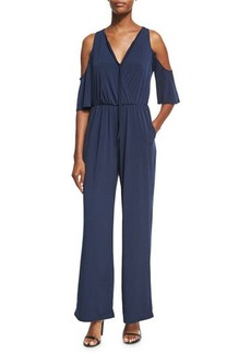 BCBGeneration Solid Cold-Shoulder Knit Jumpsuit