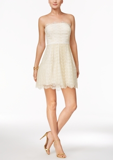 BCBGeneration Strapless Lace Fit & Flare Dress