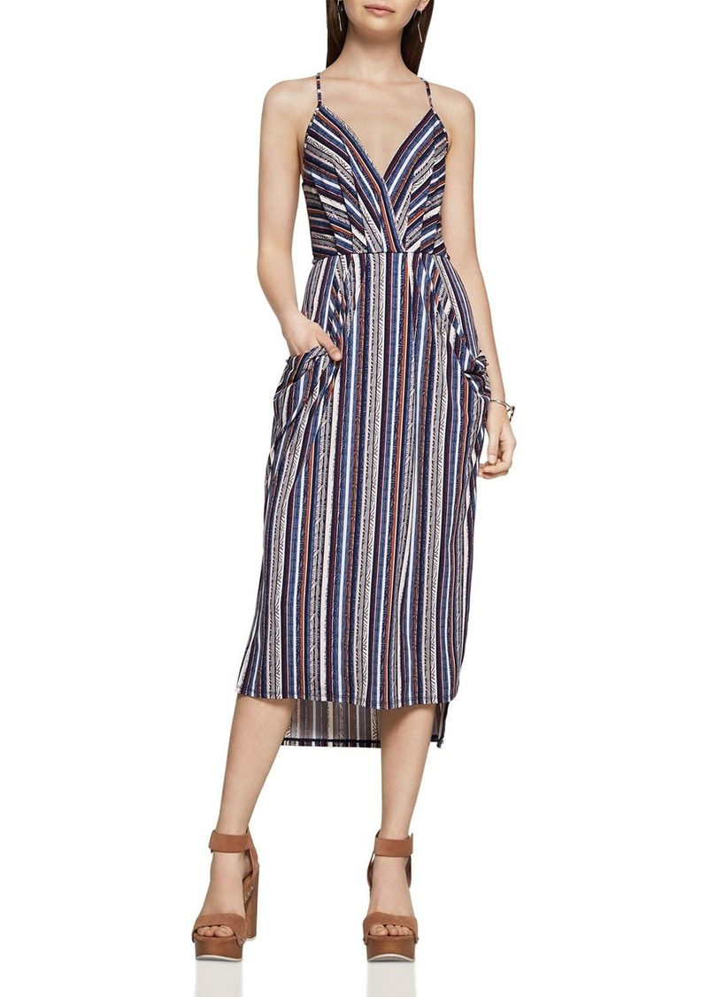 52bd8e4d70fd3d BCBG BCBGeneration Stripe Faux Wrap Midi Dress