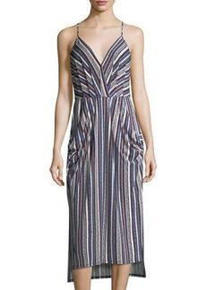 BCBGeneration Striped Midi Dress w/ Pockets