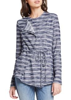 Striped Slub-Knit Asymmetric Jacket