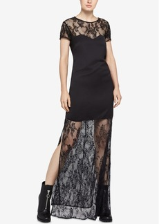 BCBGeneration Sweatheart Lace Illusion Maxi Dress
