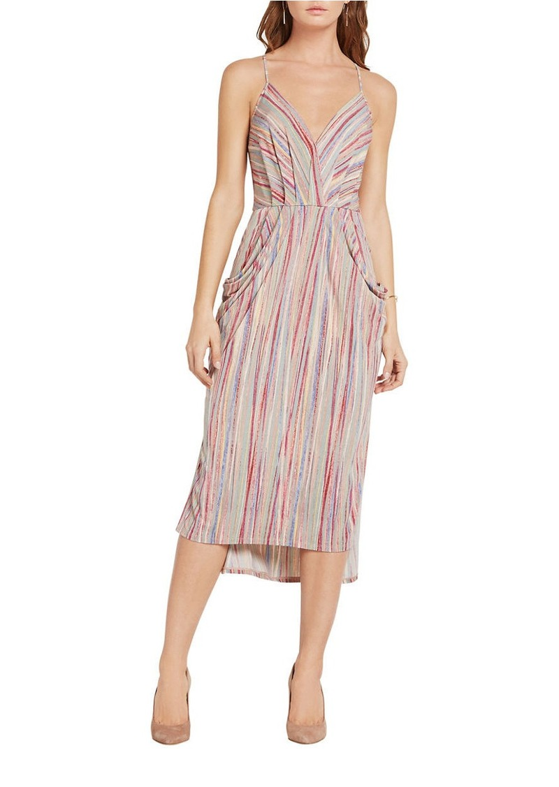 db840651e1d ENERATION Textured Stripe Faux-Wrap Dress