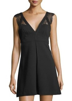 BCBGeneration V-Neck Lace-Trim Dress
