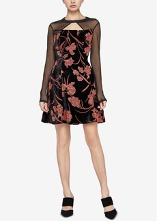 BCBGeneration Velvet Burnout Fit & Flare Dress