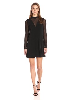 BCBGeneration Women's a Line Dress with Mesh Contrast  XXS