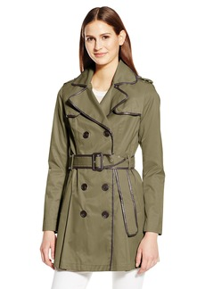 BCBGeneration Women's Belted Trench with Faux Leather Detail