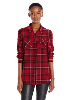 BCBGeneration Women's Button Plaid Shirt