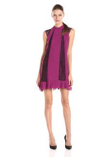 BCBGeneration Women's Cap Sleeve Pleated Hem A-Line Dress with Lace Detail